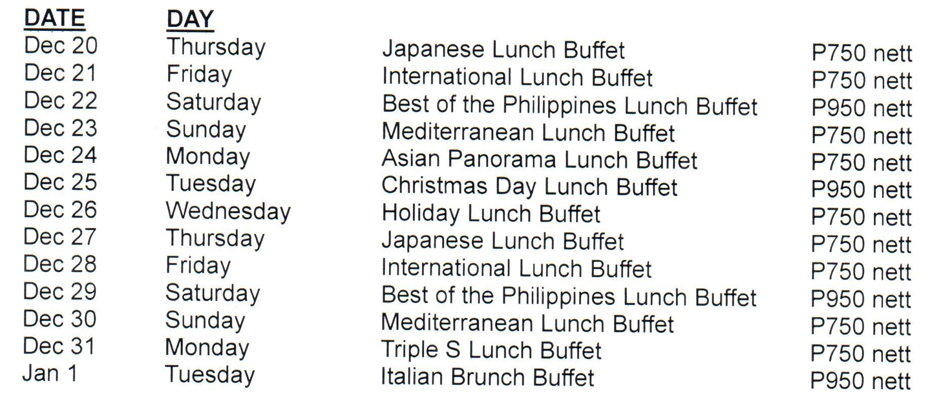 Holiday Lunch Buffet Schedule...jpg